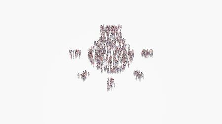 3d rendering of crowd of different people in shape of symbol of bulb with rays on white background isolated