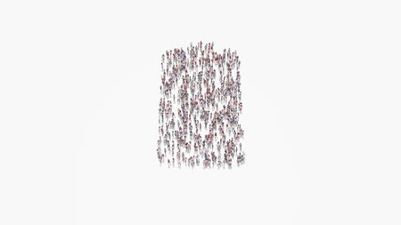 3d rendering of crowd of different people in shape of vertical symbol of full battery on white background isolated