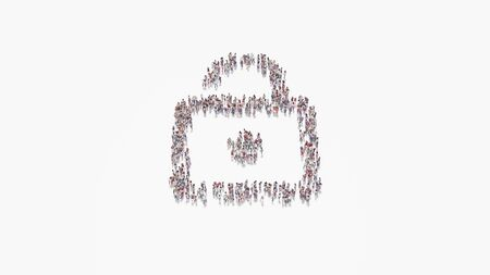3d rendering of crowd of different people in shape of symbol of open padlock on white background isolated