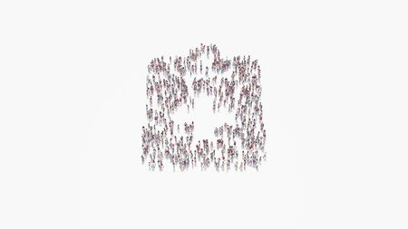 3d rendering of crowd of different people in shape of symbol of medical notes with cross on white background isolated