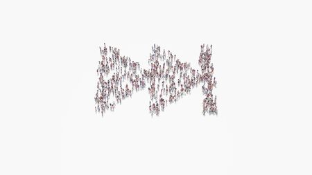 3d rendering of crowd of different people in shape of symbol of fast forward symbol on white background isolated