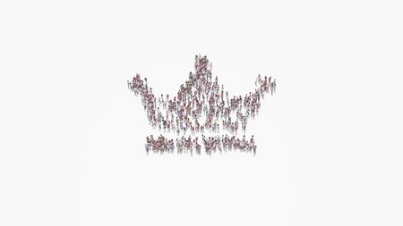 3d rendering of crowd of different people in shape of symbol of crown with three tips on white background isolated