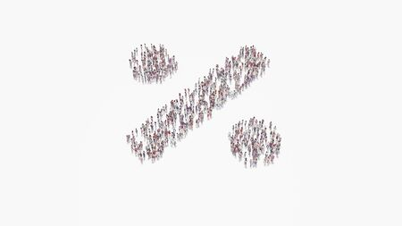 3d rendering of crowd of different people in shape of symbol of bold percentage symbol on white background isolated Standard-Bild