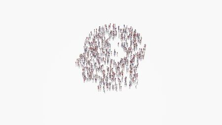 3d rendering of crowd of different people in shape of symbol of head silhouette with dollar symbol inside on white background isolated