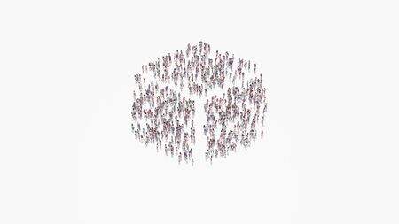 3d rendering of crowd of different people in shape of symbol of cube  on white background isolated