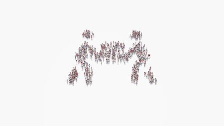 3d rendering of crowd of different people in shape of symbol of two people carry box on white background isolated