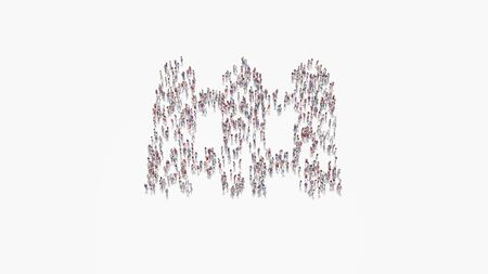 3d rendering of crowd of different people in shape of symbol of fence from three panels on white background isolated