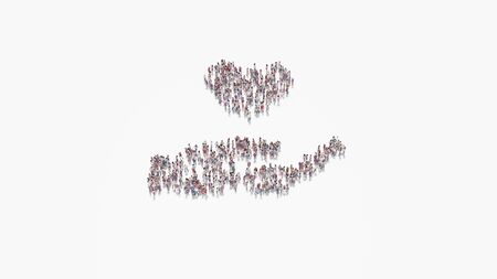 3d rendering of crowd of different people in shape of symbol of hand holding heart on white background isolated