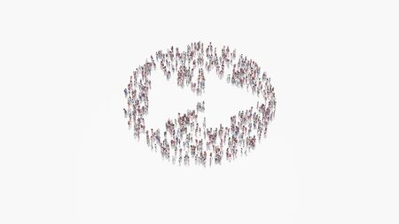 3d rendering of crowd of different people in shape of symbol of fast forward in circle on white background isolated