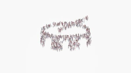 3d rendering of crowd of different people in shape of symbol of drum and stick on white background isolated