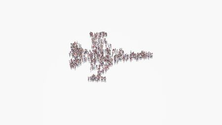 3d rendering of crowd of different people in shape of symbol of fighting falcon fighter jet on white background isolated