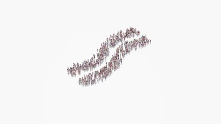 3d rendering of crowd of different people in shape of symbol of two slices bacon on white background isolated