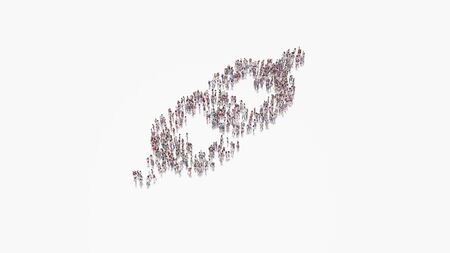 3d rendering of crowd of different people in shape of symbol of thick chain on white background isolated
