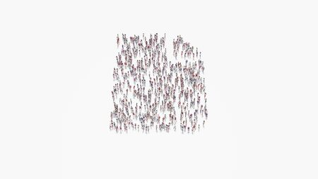 3d rendering of crowd of different people in shape of symbol of piece of paper with bent corner on white background isolated