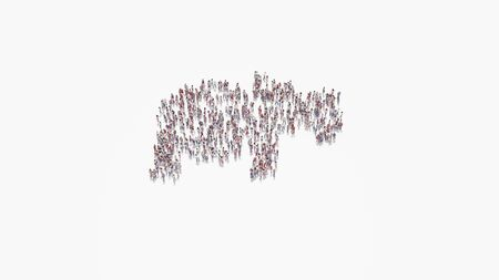 3d rendering of crowd of different people in shape of symbol of hippo from profile on white background isolated