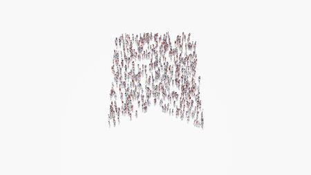 3d rendering of crowd of different people in shape of symbol of bookmark on white background isolated