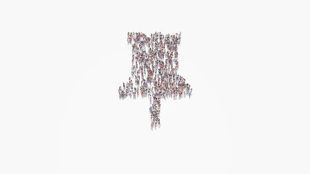 3d rendering of crowd of different people in shape of symbol of pin on white background isolated