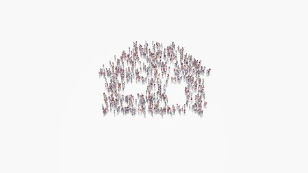 3d rendering of crowd of different people in shape of symbol of house with window and door on white background isolated