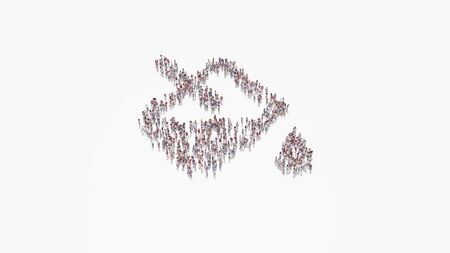 3d rendering of crowd of different people in shape of symbol of jar with liquid in pour out position and drop on white background isolated 写真素材