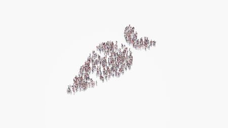 3d rendering of crowd of different people in shape of symbol of carrot on white background isolated