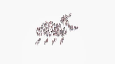 3d rendering of crowd of different people in shape of symbol of rainy cloud with partly covers moon on white background isolated