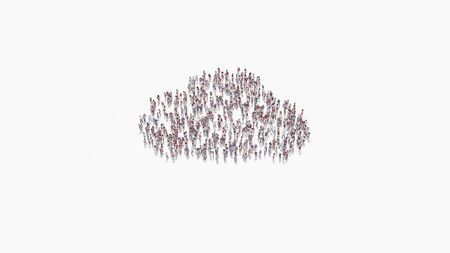3d rendering of crowd of different people in shape of symbol of filled cloud on white background isolated 写真素材