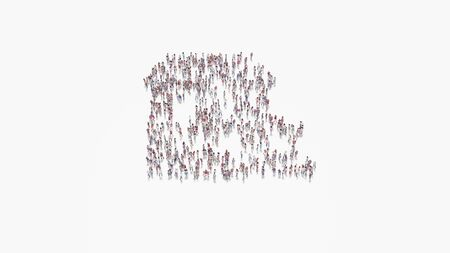 3d rendering of crowd of different people in shape of symbol of villa with terrace on white background isolated