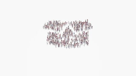 3d rendering of crowd of different people in shape of symbol of box open with flaps on white background isolated
