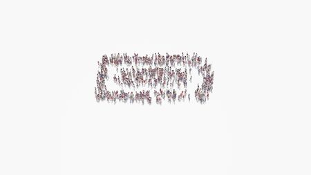 3d rendering of crowd of different people in shape of horizontal symbol of battery full on white background isolated