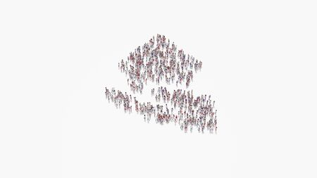 3d rendering of crowd of different people in shape of symbol of house in hand on white background isolated 写真素材