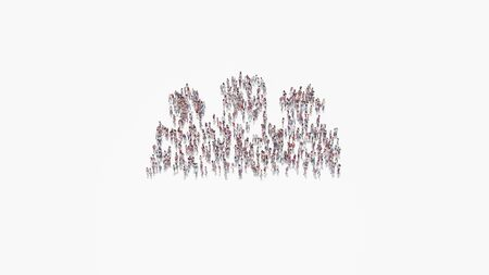 3d rendering of crowd of different people in shape of symbol of group of three people on white background isolated