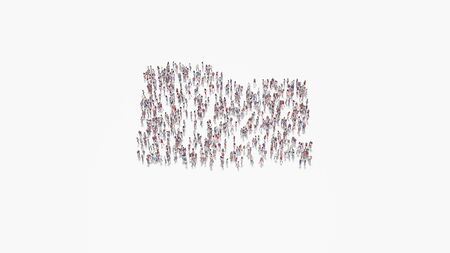 3d rendering of crowd of different people in shape of symbol of office folder on white background isolated 写真素材
