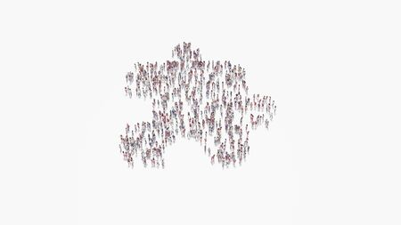 3d rendering of crowd of different people in shape of symbol of puzzle piece on white background isolated