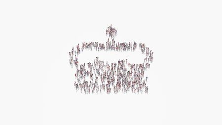 3d rendering of crowd of different people in shape of symbol of birthday cake with candle and topping on white background isolated