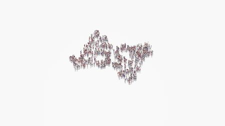 3d rendering of crowd of different people in shape of symbol of American sign language interpreting on white background isolated 写真素材