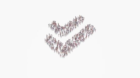 3d rendering of crowd of different people in shape of symbol of double check mark on white background isolated 写真素材