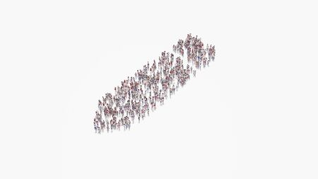 3d rendering of crowd of different people in shape of symbol of pen on white background isolated 写真素材