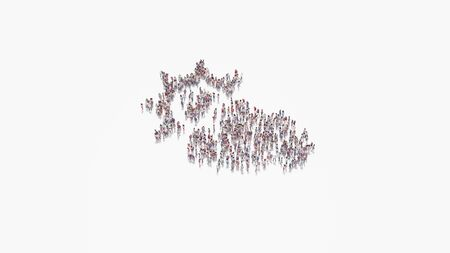 3d rendering of crowd of different people in shape of symbol of cloud partly cover sun on white background isolated 写真素材