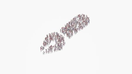 3d rendering of crowd of different people in shape of symbol of pen fancy on white background isolated
