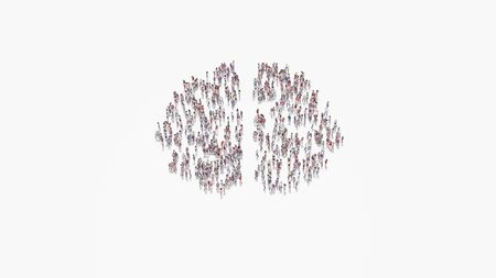 3d rendering of crowd of different people in shape of symbol of brain hemisphere on white background isolated