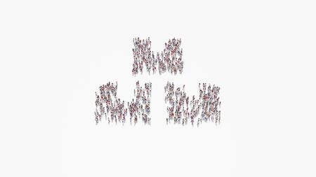 3d rendering of crowd of different people in shape of symbol of three boxes belted with tape on white background isolated
