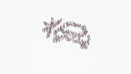 3d rendering of crowd of different people in shape of symbol of car crash on white background isolated 写真素材