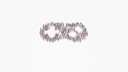 3d rendering of crowd of different people in shape of symbol of videogame controller on white background isolated