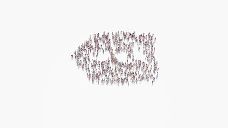 3d rendering of crowd of different people in shape of symbol of left information label arrow  on white background isolated 写真素材