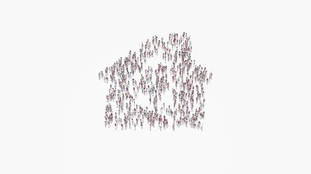 3d rendering of crowd of different people in shape of symbol of house with windows and chimney on white background isolated 写真素材