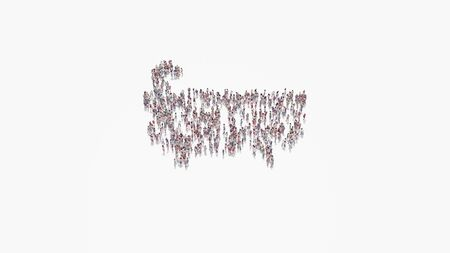 3d rendering of crowd of different people in shape of symbol of bathtub on white background isolated 写真素材