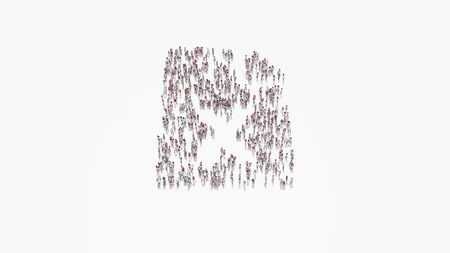 3d rendering of crowd of different people in shape of symbol of paper with bent corner and x letter on white background isolated