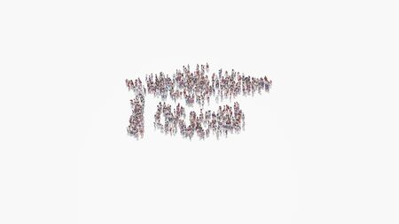 3d rendering of crowd of different people in shape of symbol of graduation cap on white background isolated 写真素材