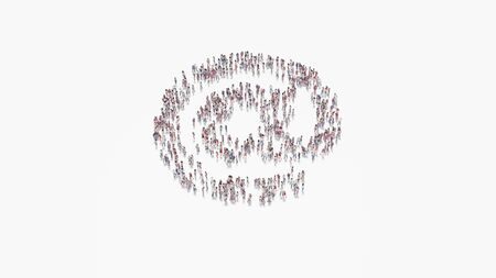 3d rendering of crowd of different people in shape of symbol of at sign on white background isolated
