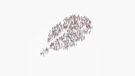 3d rendering of crowd of different people in shape of symbol of rounded feather on white background isolated